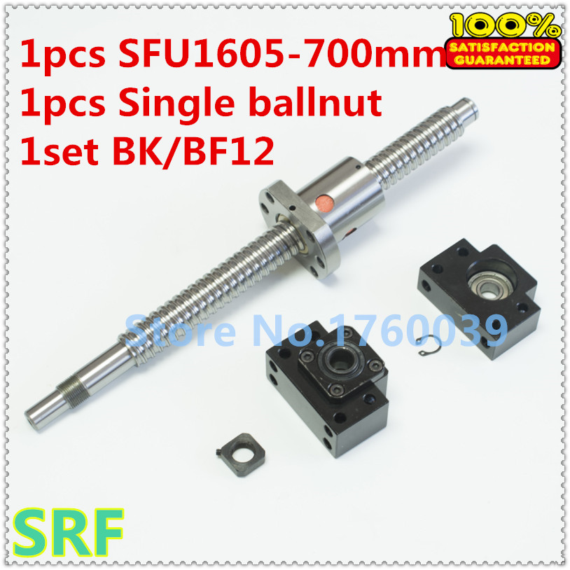 1pcs 16mm Rolled Ballscrew RM1605 L=700mm with single ball nut +1set BK/BF12 Ballscrew end support for CNC part rolled ballscrew assembles1 set sfu1605 l750mm bk12 bf12 ballnut end support 1605 nut housing bracket 6 35 10mm couplers