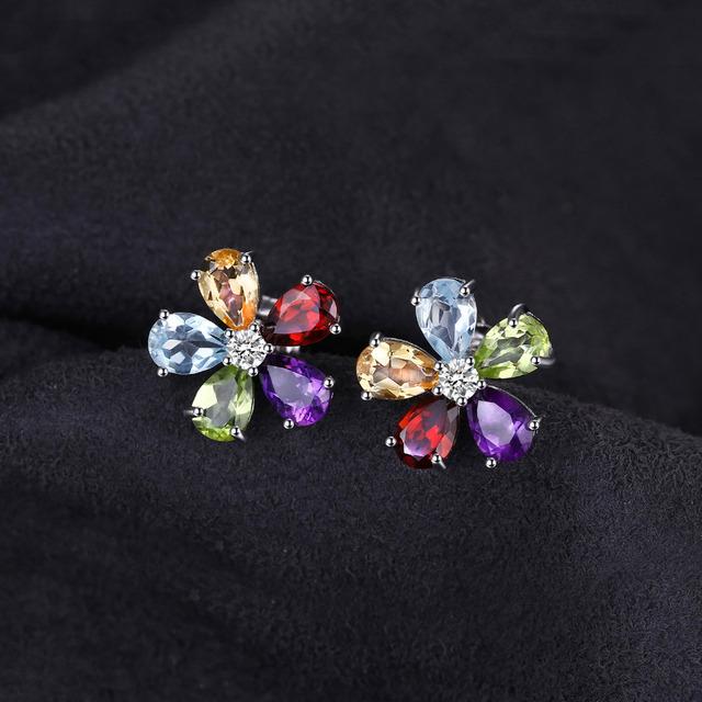 Multicolor Natural Amethyst Citrine Garnet Peridot Blue Topaz Stud Earrings