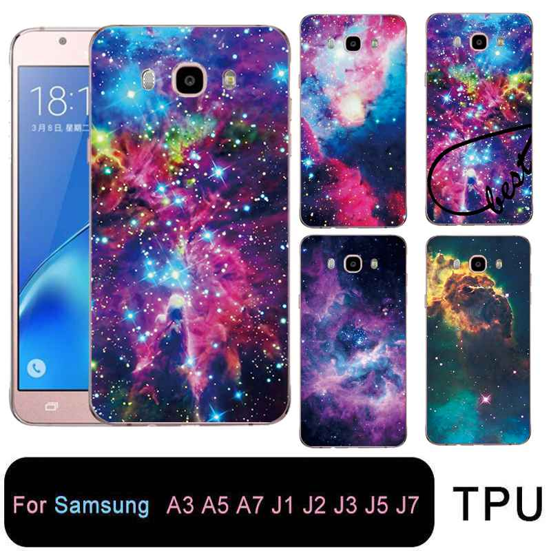 QMSWEI Soft Tpu Clear Phone Case For Samsung Galaxy A3 A5 2016 2017 prime J1 J2 J3 J5 J7 Starry Star Sky Cover Free shipping