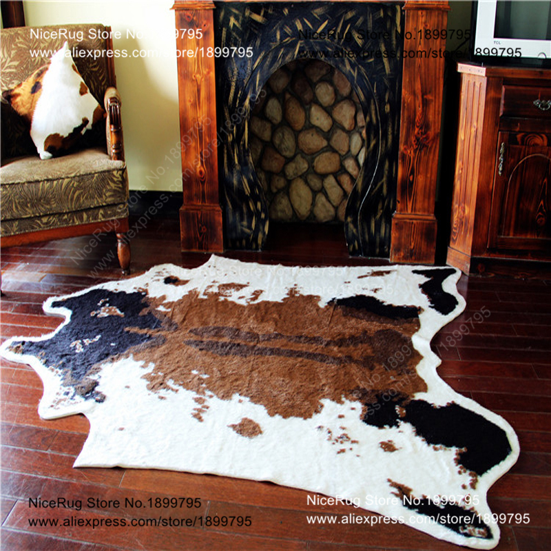 Cow Printed Rug Animal Faux Zebra Skin Cowhide Carpet Big Size 2x1