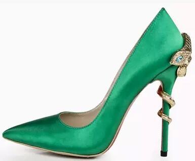 Arrivée Pompes Bouche rouge Pointu Automne Profonde vert Cuir Noir Véritable Sexy Peu Noir Rouge Vert 2018 Couleurs Disponible Dames Nouvelle Serpent Stilettos Zn0xR6