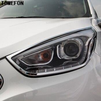 Para Hyundai ix35 2013 2014 2015 Frente Chrome Faróis Traseiros Luzes Da Cauda Tampa Da Lâmpada Guarnição Moldura Quadro Decore Acessórios Do Carro