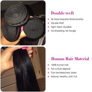 Image 2 - ストレートヘアの束でブラジル毛織りバンドル remy 毛 3 バンドルと閉鎖 longqi 人毛
