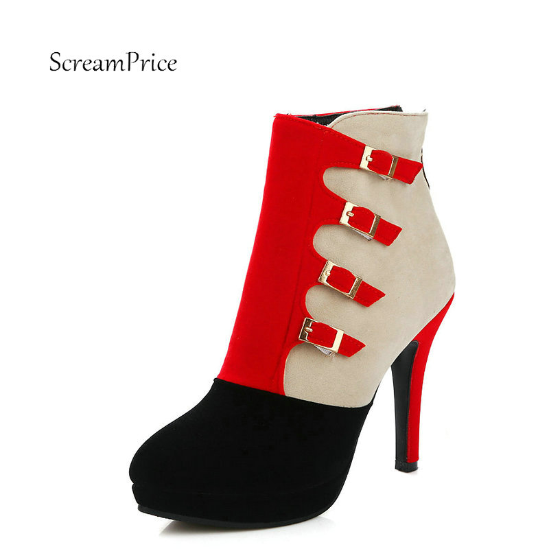 Women Buckle Back Aipper Platform Mixed Colors High Thin Heel Ankle Boots Fashion Pointed Toe Winter Shoes Red Black Blue plus size 33 42 pointed toe genuine leather buckle mixed colors fashion casual high heel shoes platform high quality women pumps