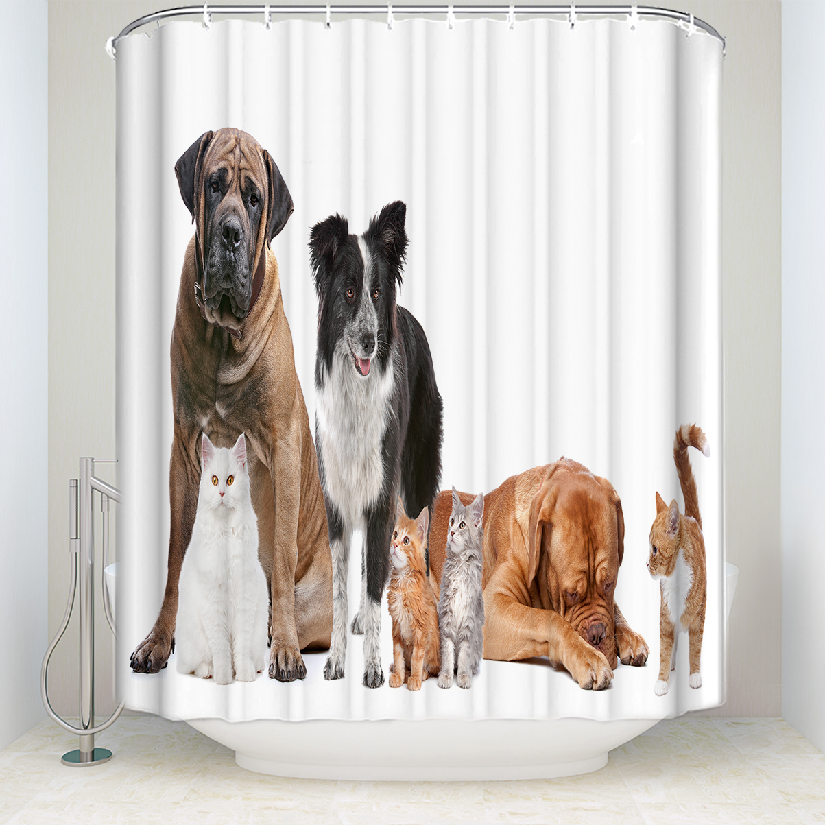 Memory Home Animals Cute Dogs Cats Shower Curtain Polyester Fabric Bathroom Fantastic Decorations Bath Curtains Hooks Included In From