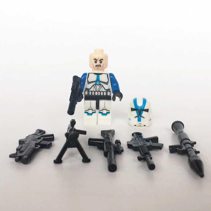 Image 2 - 21PCS/LOT STAR WARRS 501st Clone Trooper SW445 with Weapons mini figure compatible legoe building block Kids toys for ChristmasBlocks   -