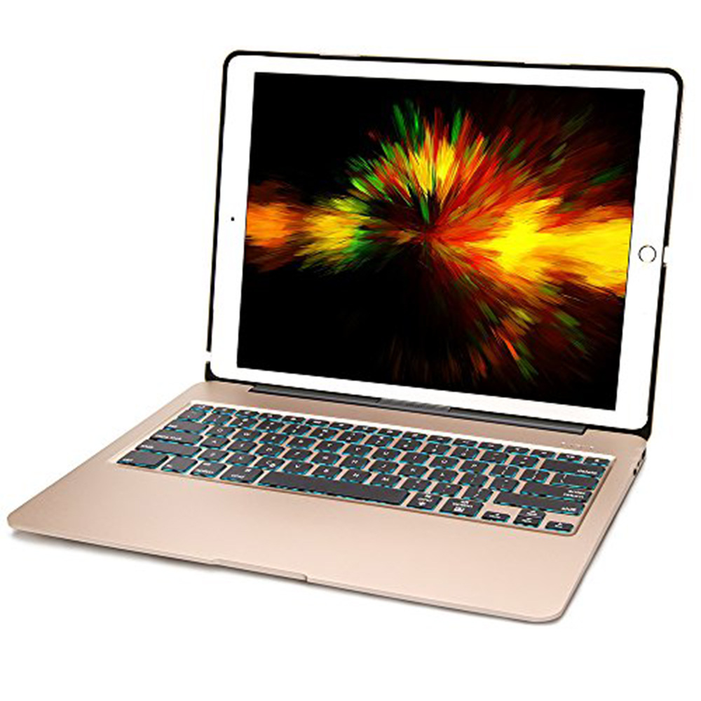 Aluminum Bluetooth Keyboard Case for iPad Pro 12.9 Model A1584/A1652/A1670/A1671 Slim Protective Cover with 7 Colors Backlit