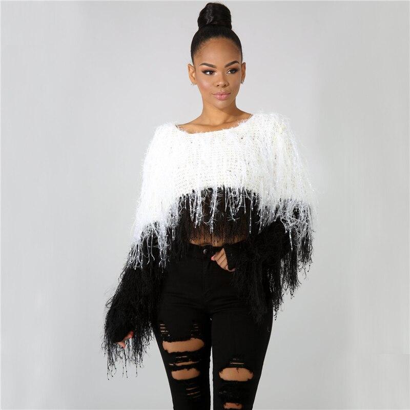 Sexy Sweater Women O Neck Tassel Women Tops Long Sleeve Loose Casual Pullover Sweetwear Autumn Winter Crop Tops