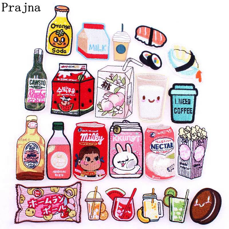 Prajna Japanese Style Patches Cartoon Bottle Iron On Embroidered Patches On Clothes Applique For Kids T-shirt Jacket Decor DIY