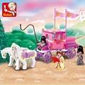 Serie de la muchacha Pink Dream Princess Royal Carriage Wagon Modelo Caballo Vehículo Sluban Building Blocks Juguetes Compatible con Lego 0250