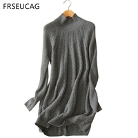 FRSEUCAG High Quality Ladies Pure Cashmere Sweater Winter Selling High Collar Full Sleeves Knitted Pullover Warm