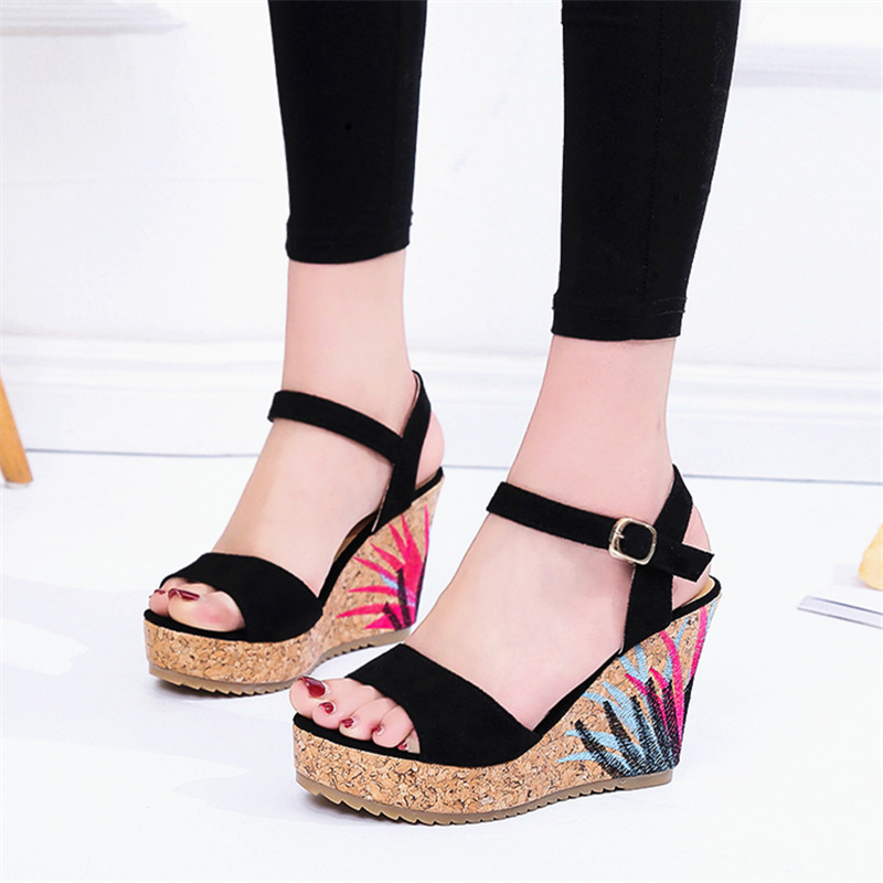 22014 sandals women the new summer 2018 sponge thick bottom fish mouth high-heeled sandals wholesale 16