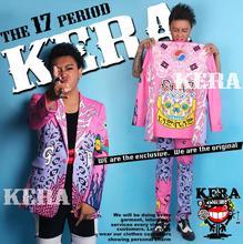 Exclusive Hot T.O.P similar model Men Fashion blue pink graffiti Blazers pants fits, males's DJ singer DS Nightclubs costumes Dress
