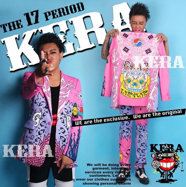 Exclusivo Hot TOP mesmo estilo Homens Moda azul rosa graffiti calças ternos Blazers, DJ cantor DS trajes Discotecas Vestido dos homens