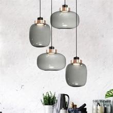 Vintage Loft gris vidrio cobre suspensión para Foyer cama comedor apartamento vidrio gota luz 2497