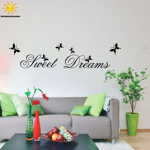 Modern Word Art Wall Sticker Home Decoration Sweet Dreams Vinyl Art Mural  Wall Quote Saying Stickers