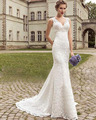 Nuevo Diseño Por Encargo Ata Para Arriba el Profundo Escote En V Delgado Elegante Sirena del cordón del Vestido de Boda Femenino Más Tamaño Vestido De Noiva Sereia