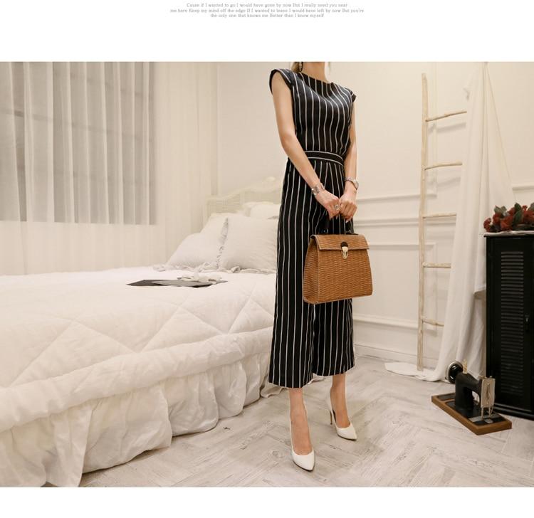 2018 Korean Summer Temperament Sleeveless Two Piece Set Stripe Fashion Wide Legging 2 Piece Set Women 10