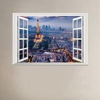 3D Art Window Wall Stickers Paris Tower Night Scene Vinyl Decals Home Decoration Living Room Bedroom