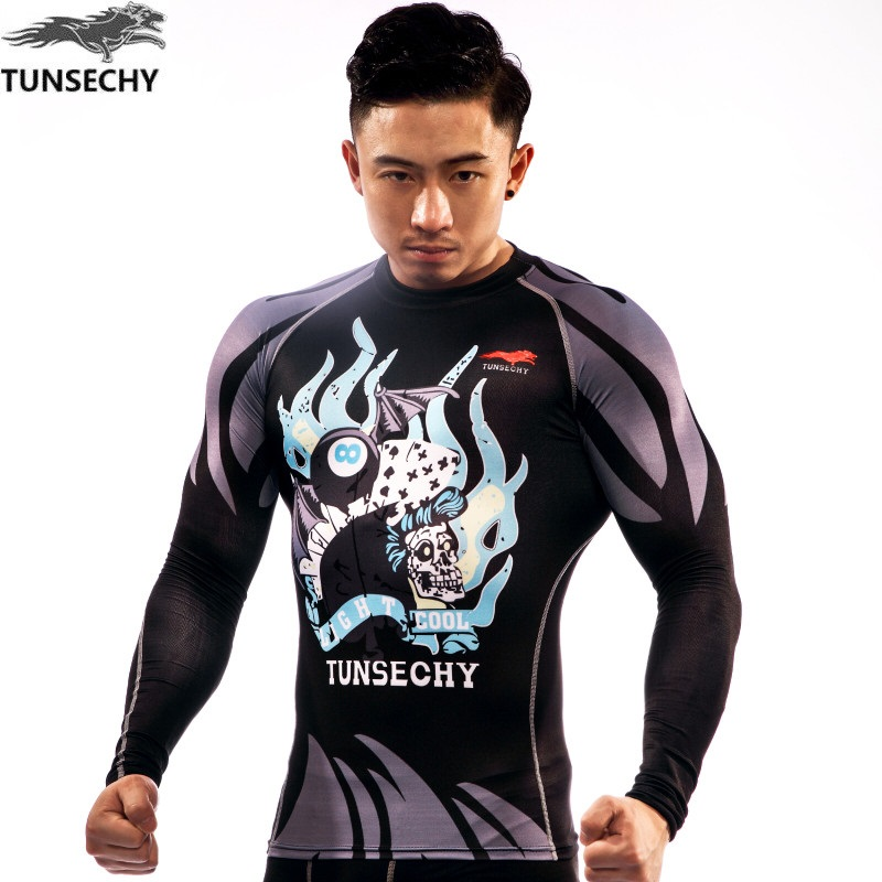 TUNSECHY 2017 wholesale fashion Brand T-shirt men summer long sleeve Polyester lycra T-shirt  Wholesale and retail free shipping