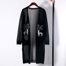 Shuchan 2019 Summer Linen Long Cardigans Women Office Lady V-neck Sleeve Embroidery Animal Thin Sweater CDDM-601-1934