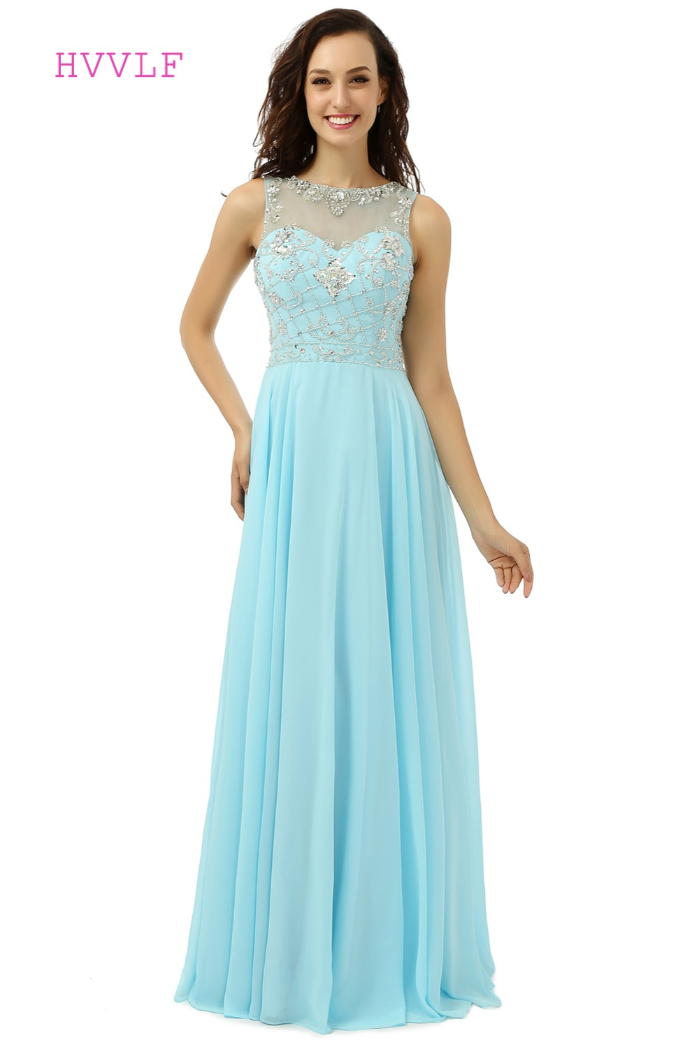 Turquoise Robe De Soiree 2019 A-line See Through Chiffon Beaded Crystals Formal Long   Prom     Dresses     Prom   Gown Evening   Dresses
