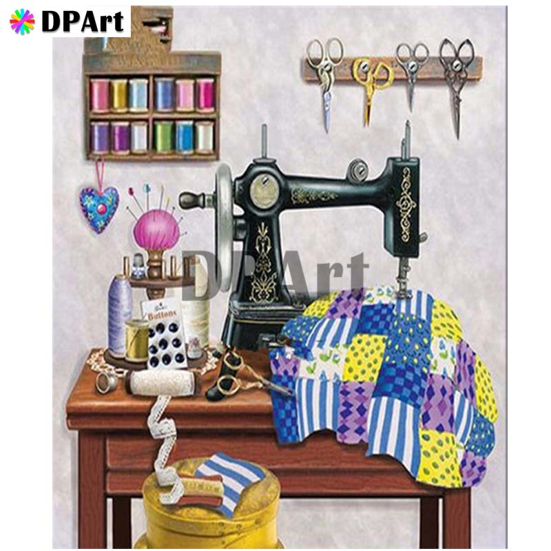Diamond Painting 5D Full Square/Round Drill Sewing machine Daimond Embroidery Painting Cross Stitch Mosaic Picture M985(China)