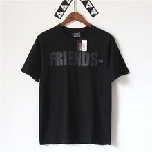 17AW Apagón VLONE Amigos T camisa Para Hombre de La Marca de Moda Negro Grande V Impreso Manga Corta Camisetas Hip hop Rock Punk Tees Tops XL(China (Mainland))