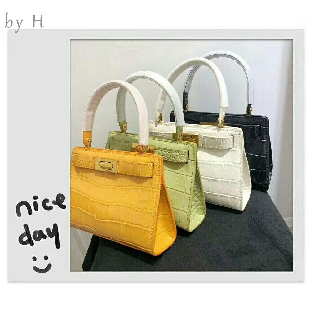 by H 2019 new luxury designers womens shoulder bag top handle bag croco embossed key handbag fashion alligator high quality bag