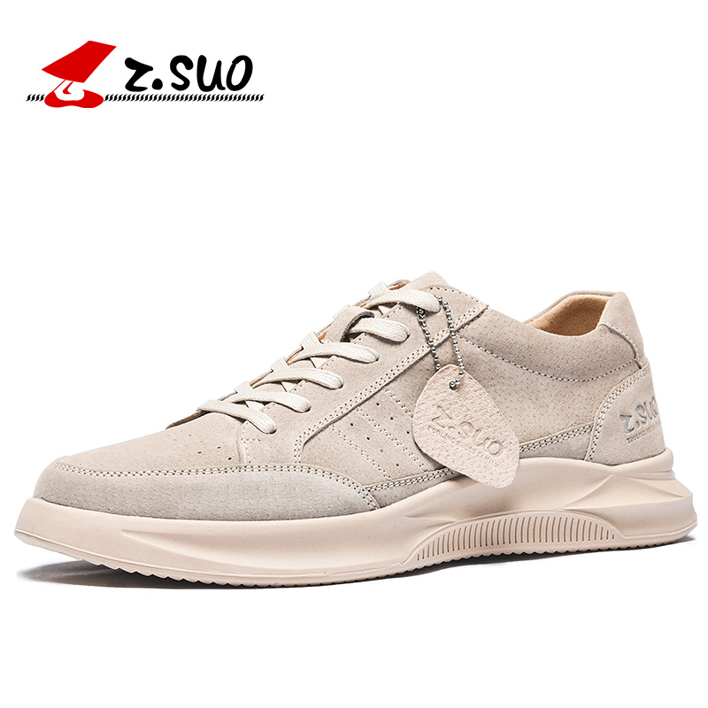 Z Suo Classic Men Casual Stareboarding Shoes Fashion Trend Khaki Lightweight Sneakers Trail Trainers Outdoor Sport