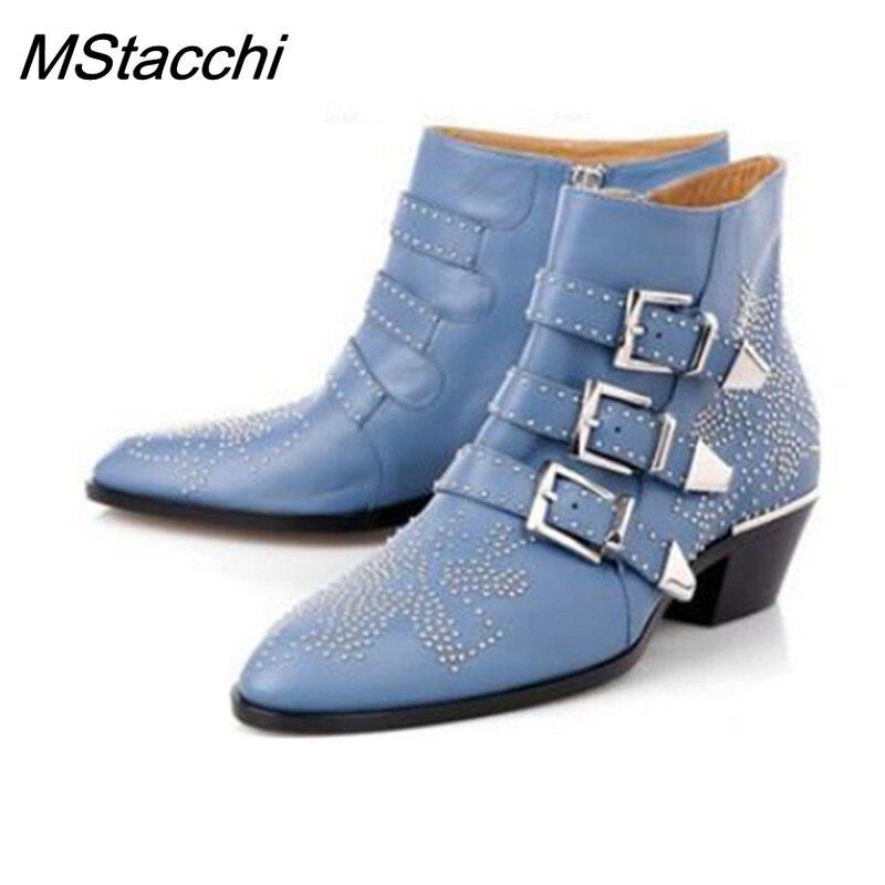 MStacchi النساء جلد طبيعي الذهب و الفضة برشام سوزانا رصع النساء حذاء من الجلد جولة اصبع القدم زهرة الأحذية موهير النساء الفاخرة-في أحذية الكاحل من أحذية على  مجموعة 1