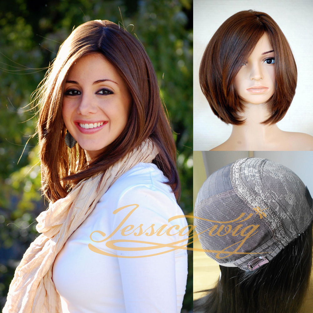 jewish hair style finest hair bob style wig 4 4 silk top kosher wigs 3695 | Finest Hair Bob Style Jewish wig 4 4 Silk Top Kosher wigs Slight Bobo Best Sheitels