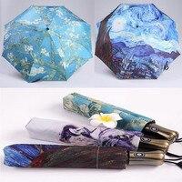 LIKE RAIN Van Gogh Famous Brand Automatic Umbrella Fashion Painting Parasol Beach Umbrellas Sun Rain Women