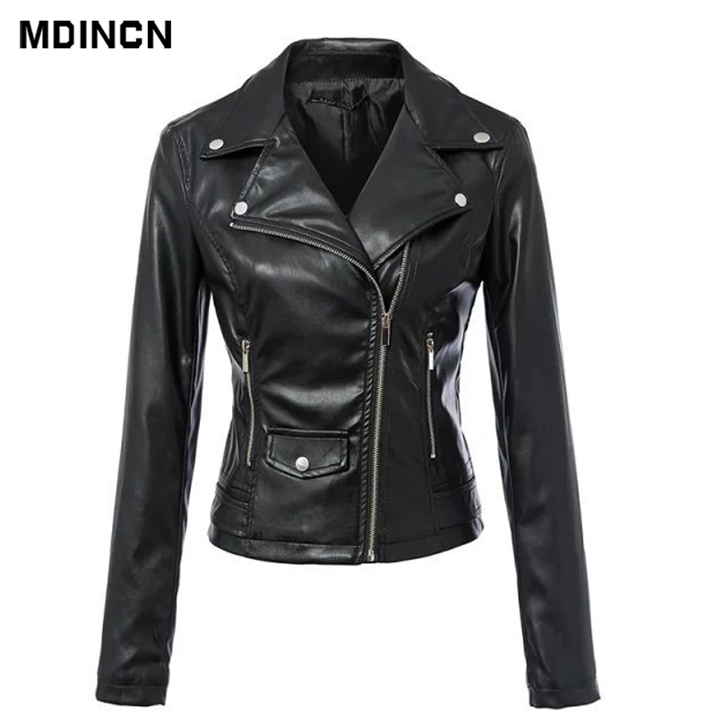New Fashion Women Autunm Black Color Faux   Leather   Jackets Lady Bomber Motorcycle Cool Outerwear Slim Coat Hot Sale LR4