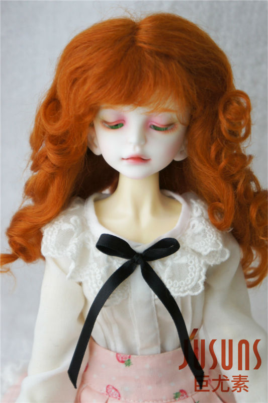 D20313 1/4 MSD  mohair doll wigs  Princess Long curly bjd wig 7-8inch doll accessories 1 3 1 4 1 6 1 8 1 12 bjd wigs fashion light gray fur wig bjd sd short wig for diy dollfie