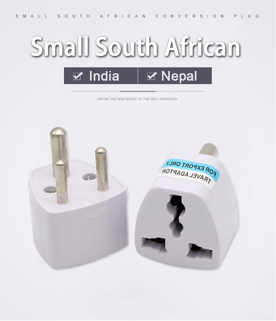 1PC 3 pin India Travel Converter Adaptor AC Power Multi Outlet Adapter Socket Universal UKUSEUAU to Small South Africa Plug (1)