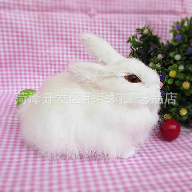 Моделирование животных собака игрушка белый кролик 15x12 см модель полиэтилен и меха кролика поделки из резины, реквизит, украшения подарок h418