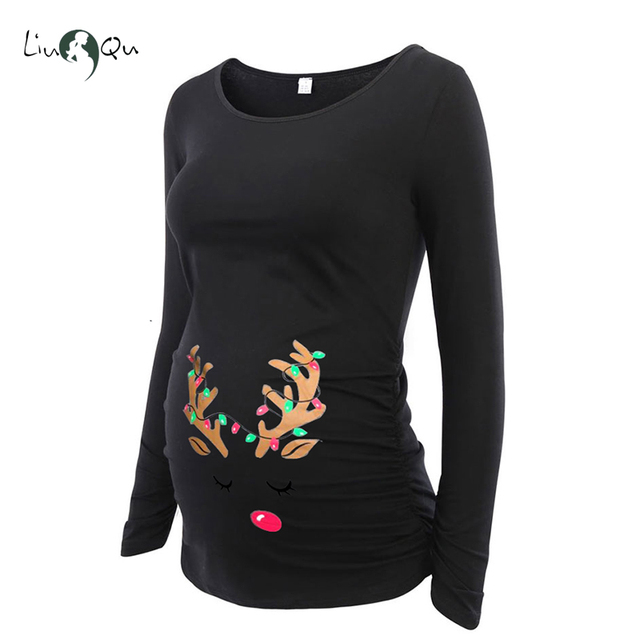 22082ac0327 Women Maternity Clothes Ugly Christmas Reindeer Cartoon Printing Side  Ruched T-Shirt Top Blouses Pregnant