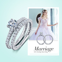 HOT 925 Sterling Silver sparkling engagement ring stackable solitare rings elegant Gift 2pcs set womens rings jewelry