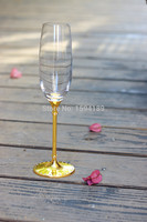 2015 New Design Hot Sale Clear Crystal 240ml Wine Glass Set With Imitation Gold Stem