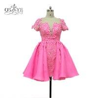 2017 настоящая фотография розовый бальное платье короткие Вечерние платья с 3D цветочный цветы Кружева Бисер платье для выпускного вечера Вин...