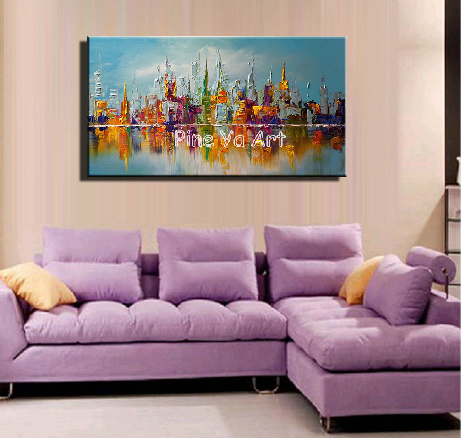Large Abstract Modern Canvas Wall Art Big Handmade Decorative New York City  Oil Painting On Canvas For Bedroom Decoration In Painting U0026 Calligraphy  From ...