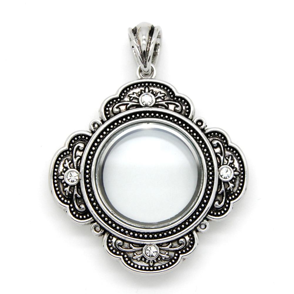 Locket Charm Bracelet: Pendant Jewelry Antique Glass Floating Locket With