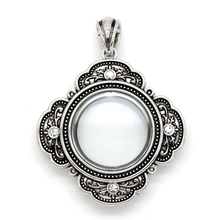 Pendant Jewelry Antique Glass Floating Locket with Rhinestone Plain Charm Locket Memory Locket for Necklace Pendant(China)
