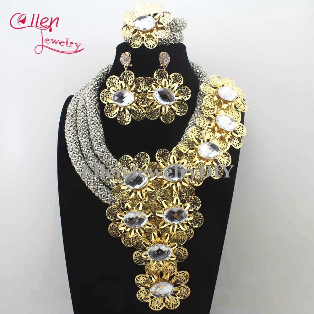 Christmas Luxury African beads jewelry sets india nigerian flower beads beaded wedding bridal necklace dubai jewelry sets E1001