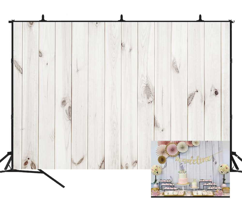 Photo Studio Beipoto White Wood Floor Backdrop For Photography Photo Background Wedding Party Decoration Baby Shower Dessert Table Studio To Have Both The Quality Of Tenacity And Hardness