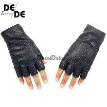 2019 New Arrival Women Fingerless Gloves Breathable Soft Leather Gloves for Dance Party Show Women Black Half Finger Mittens недорого