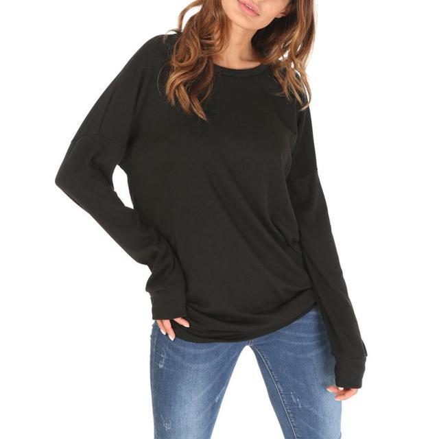 039f0577af Nuevo sólido T-Shirt cuello redondo de manga larga costura contraste Color  gran tamaño tiras