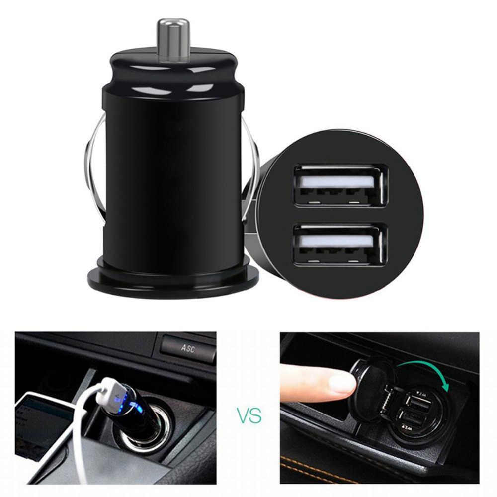 Car Mini Dual USB Car Charger Cigarette Lighter 12V 2 Port Adapter Universal Fast Car Charger Power Adapter Car Styling