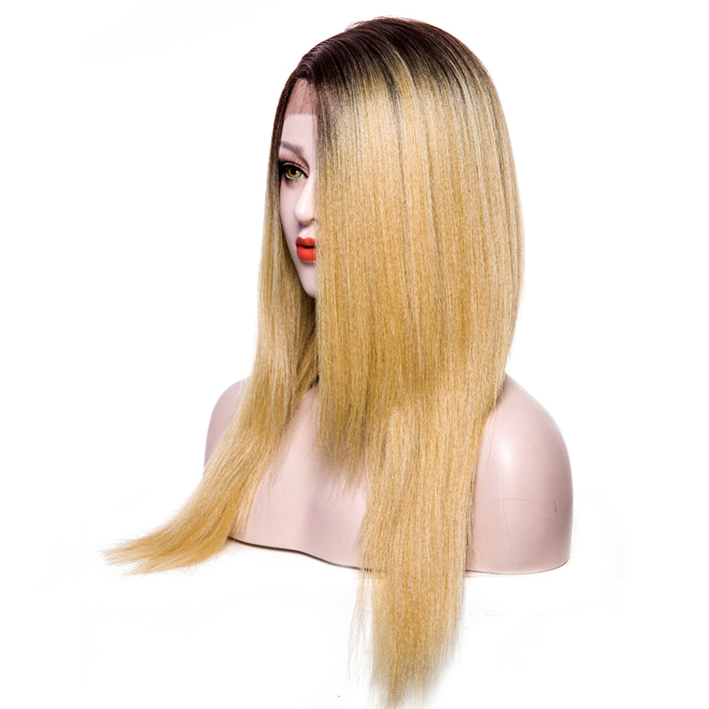 Synthetic Lace Front Wigs Yaki Straight Wig L Part Two Tones Ombre Blonde Wig Artificial Womens Wigs Yellow Heat Resistant